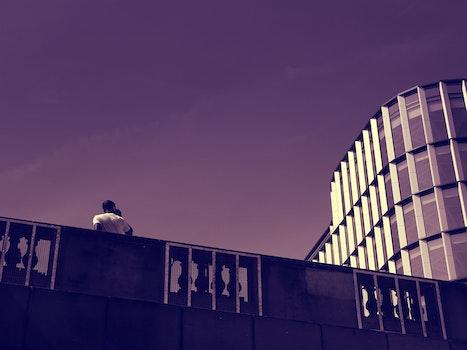 Free stock photo of person, building, architecture, monochrome