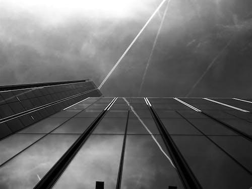 건축, 로우앵글 샷, 반사, 블랙 앤 화이트의 무료 스톡 사진