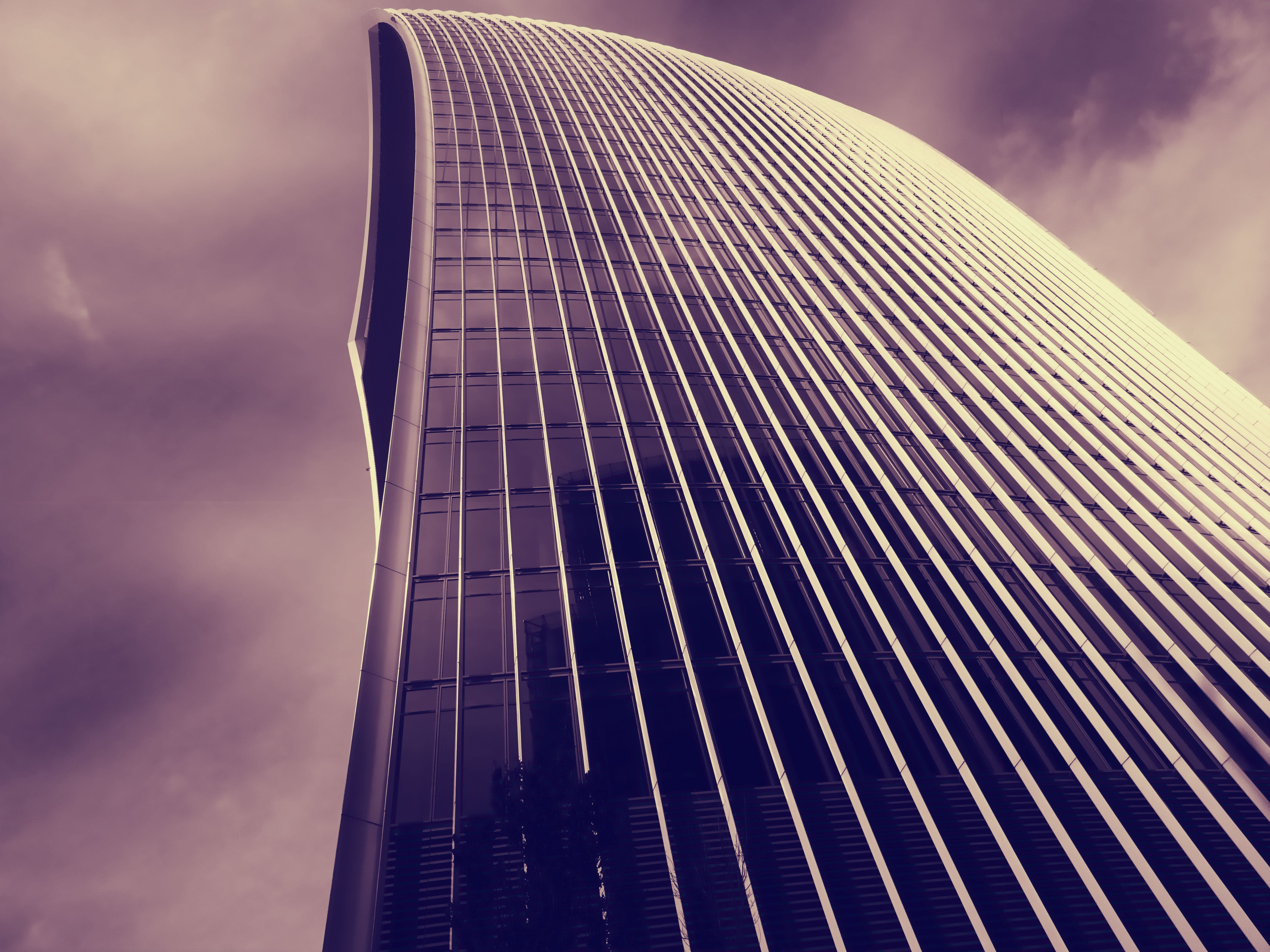 Low Angle Grayscale Photography of Building