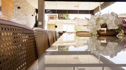 Interior of contemporary dining room at daytime in villa