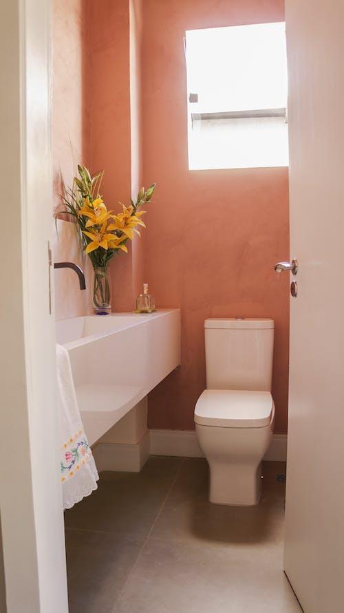 Opened door of restroom with toilet and sink