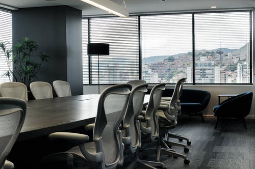Interior of stylish conference room with modern furniture