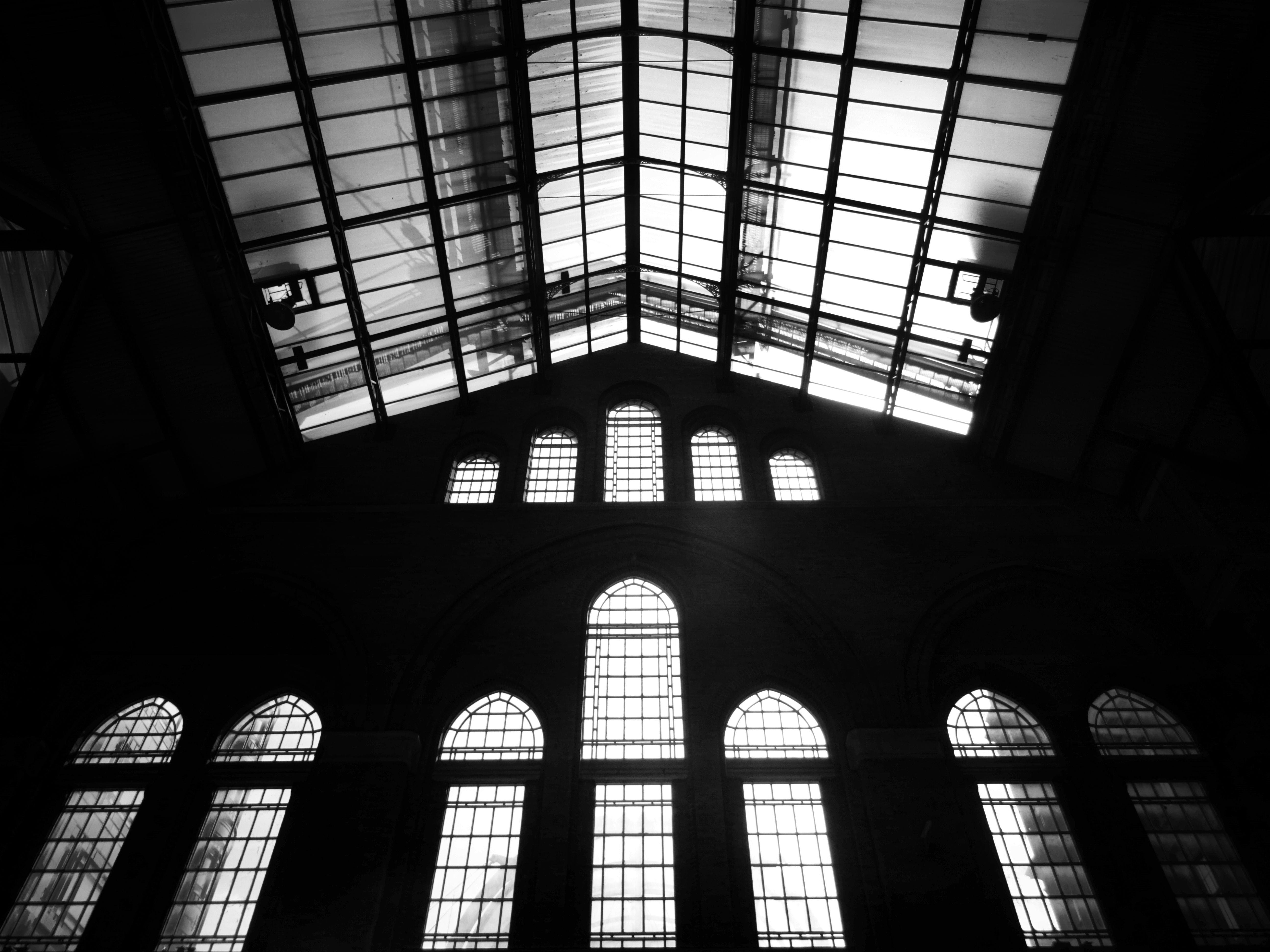 Grayscale Photography of Building Interior