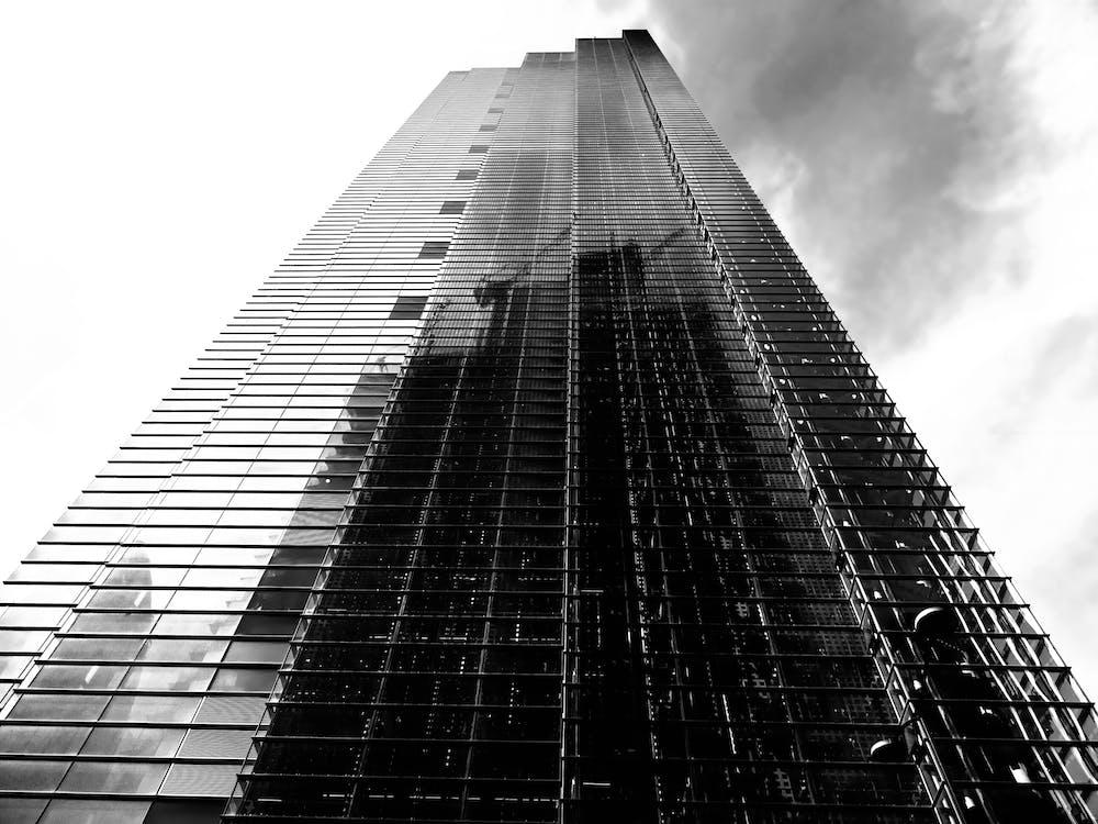ขาวดำ, ตึกระฟ้า, ภาพถ่ายมุมต่ำ