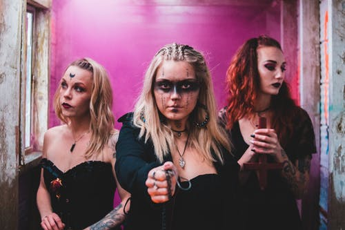 Women with dark makeup for Halloween