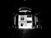 black-and-white, dark, building