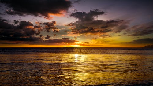 Scenic View of Placid Sea during Sunset
