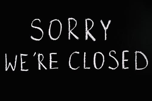 Sorry We're Closed Lettering Text on Black Background