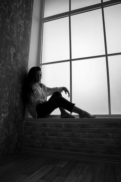 bw, うつ病, がっかりするの無料の写真素材