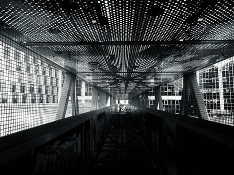 Free stock photo of black-and-white, building, tunnel, architecture