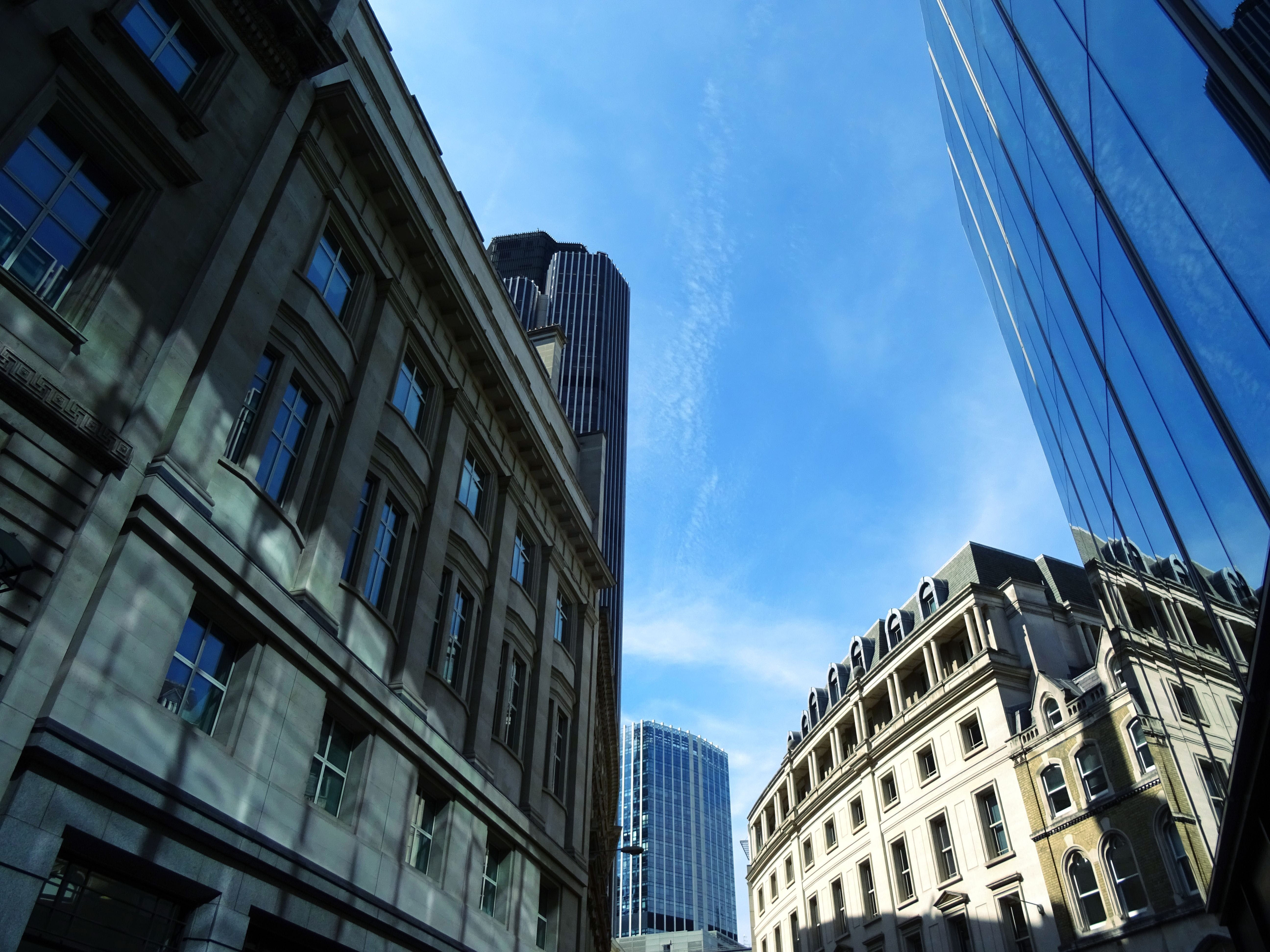 Worm's Eyeview of Gray Building