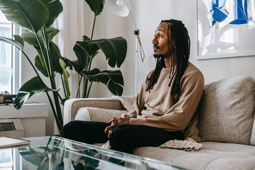 Side view of African American male client sitting on couch and speaking during consulting therapy in modern office with green plant
