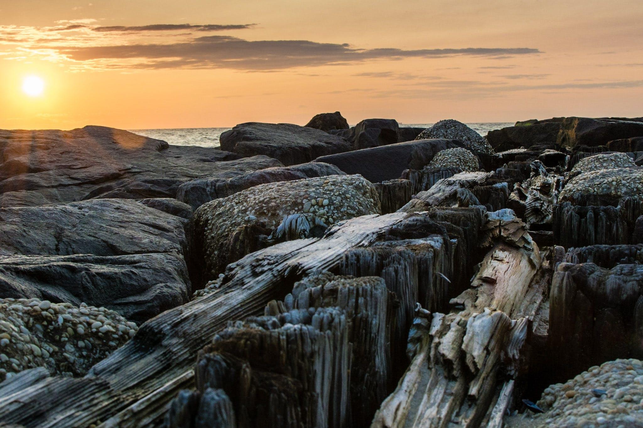 Free stock photo of beach, jetty, ocean, rocks