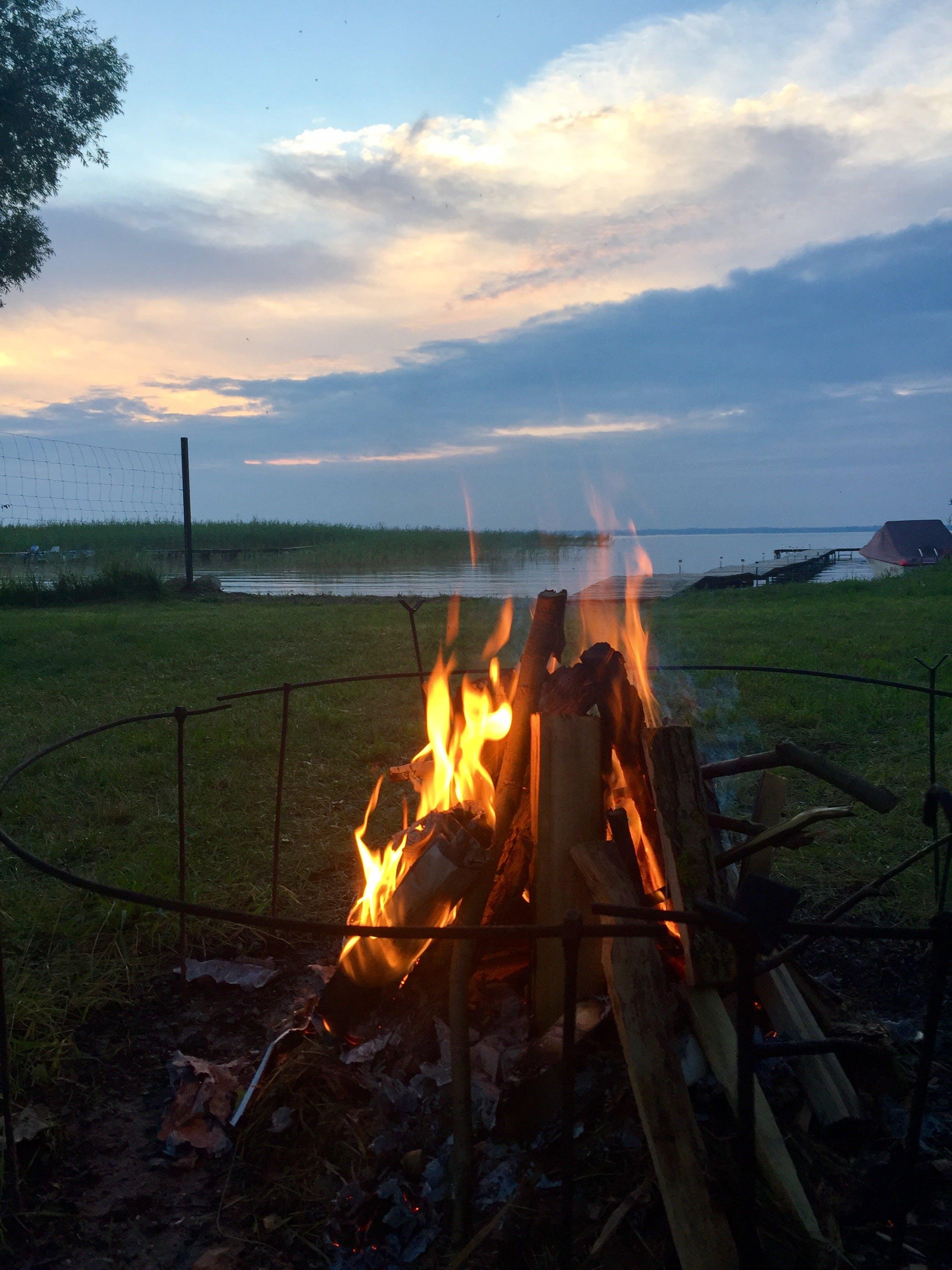 Free stock photo of bonfire, campfire, empty, lake