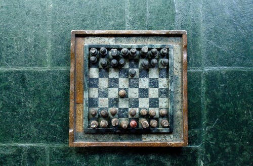 Chessboard on Green Surface