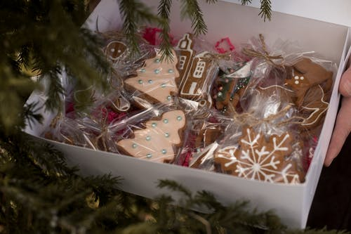 Close-Up Photo of Gingerbread Cookies in a Box