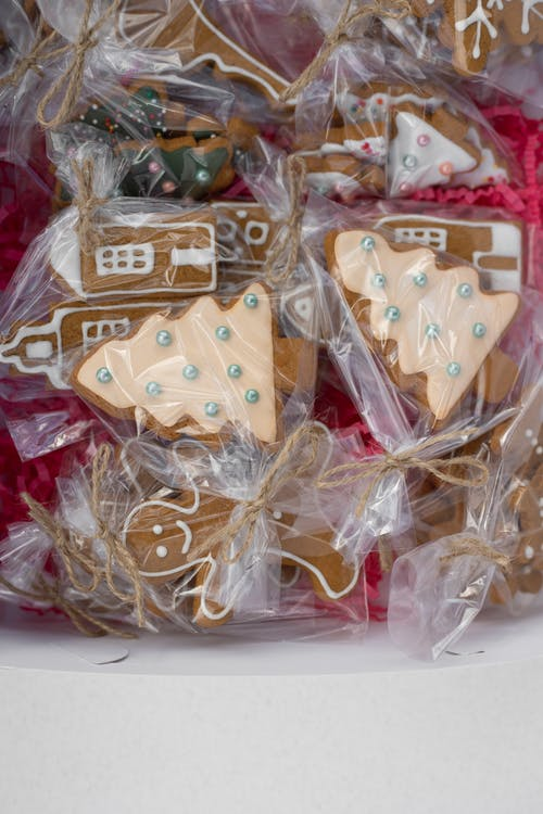 Close-Up Photo of Gingerbread Cookies in a Plastic Pack