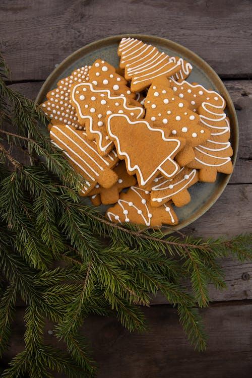 Brown Christmas Tree-Shaped Gingerbread Cookies near Fir Leaves