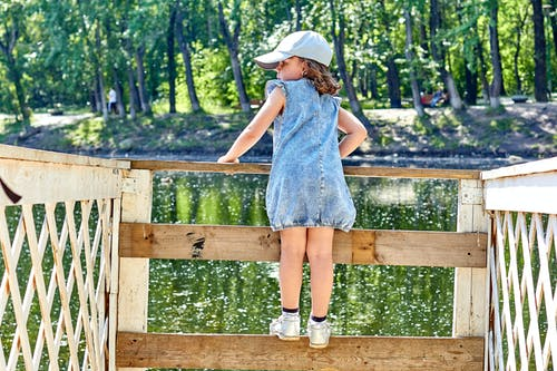 Girl in Blue Dress Standing on Brown Wooden Fence