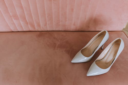 Pair of White Leather Pumps