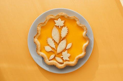 Baked Pumpkin Pie on Ceramic Plate