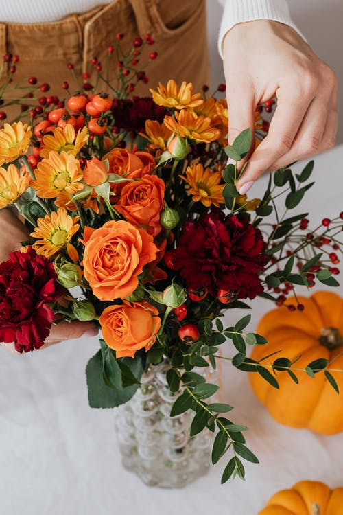 Yellow and Red Flower Bouquet