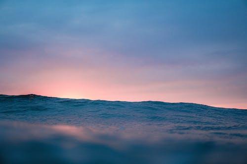 Rippling water of sea at dusk