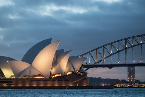 Exterior of Sydney Opera House in late evening