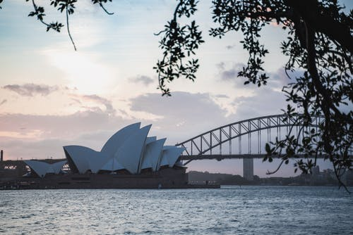 Scenery of famous Sydney Opera House and bridge in twilight