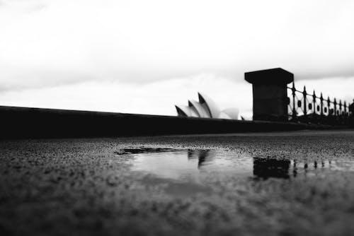 Asphalt embankment against Sydney Opera House