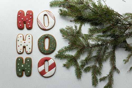 Set of yummy Christmas letter cookies and spruce branch on white table