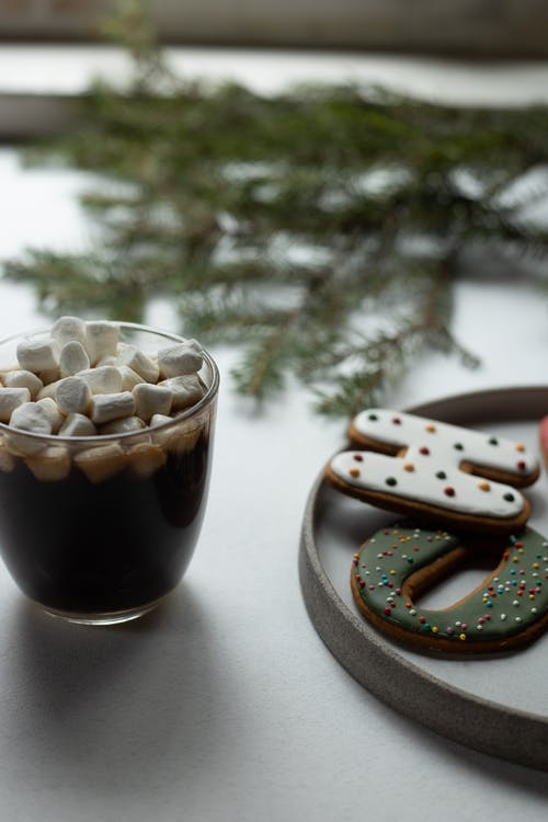 Delicious hot chocolate with marshmallows on Christmas Day