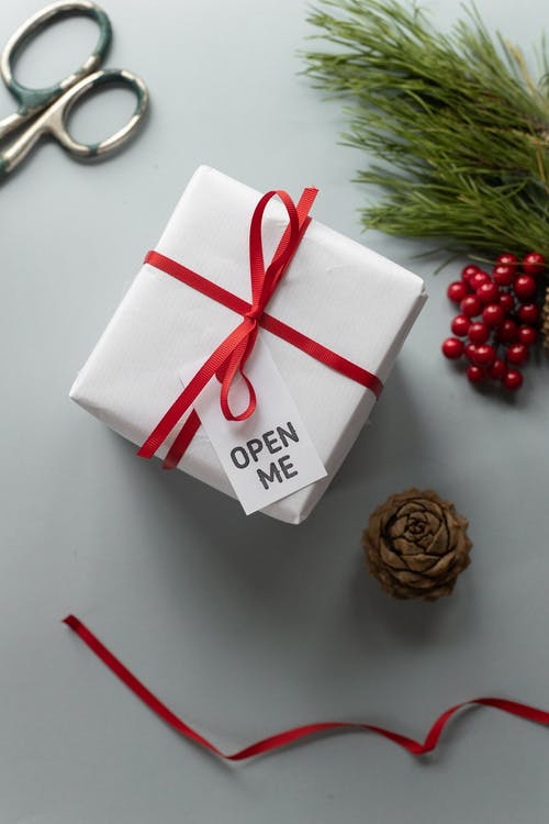 Top view of handmade gift box with ribbon bow and tag with title near spruce sprig on Christmas Day on light background