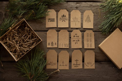 Collection of decorative tags with inscriptions for New Year holiday