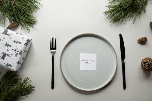 Plate knife and fork and Christmas decorations