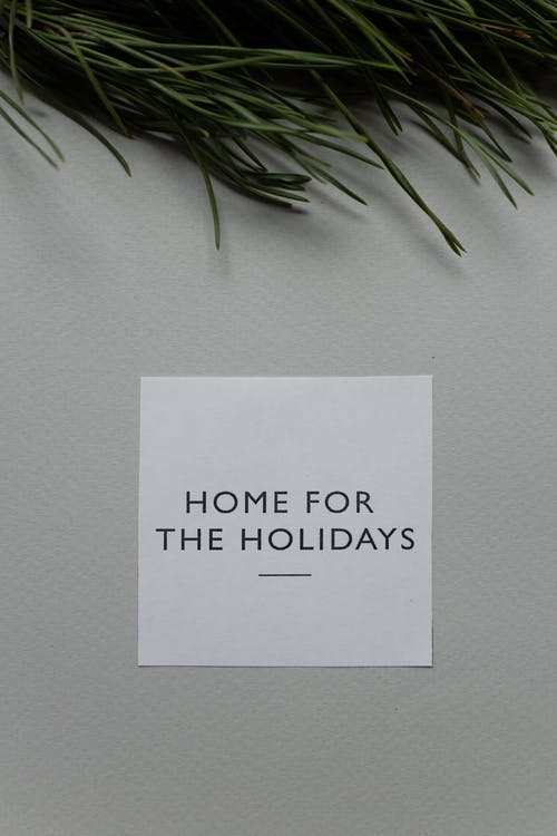 Top view of white greeting card with Home For The Holidays phrase placed on gray background with green coniferous twig