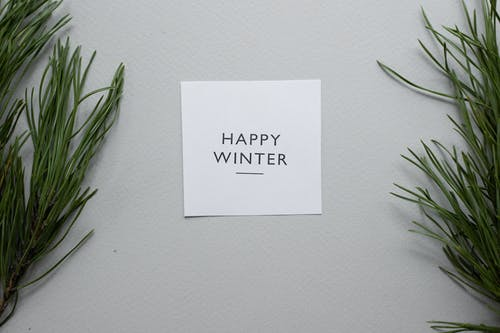 Top view of Happy Winter inscription written on white card placed on gray background with green coniferous twigs in studio