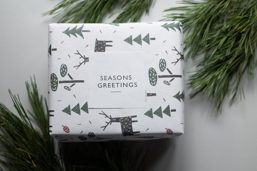 Gift wrapped in festive paper with trees and deer between green tree branches