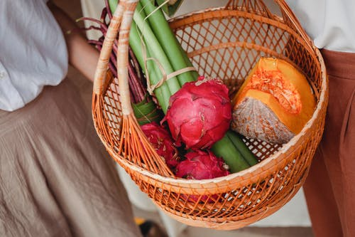 Women with basket of vegetables and fruits
