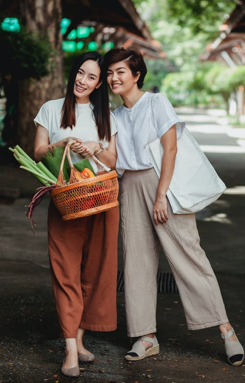 Content ethnic women with food basket on city pavement