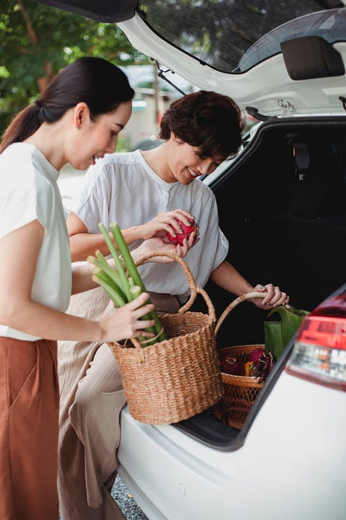 Cheerful Asian lesbian couple putting vegetables in trunk of automobile