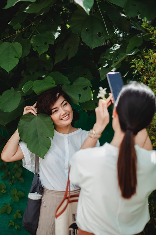 Anonymous female taking photo of smiling ethnic girlfriend near tree on cellphone in park in back lit