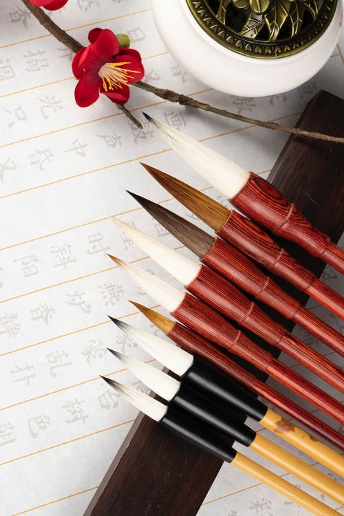 Collection of modern calligraphy brushes on table with decor