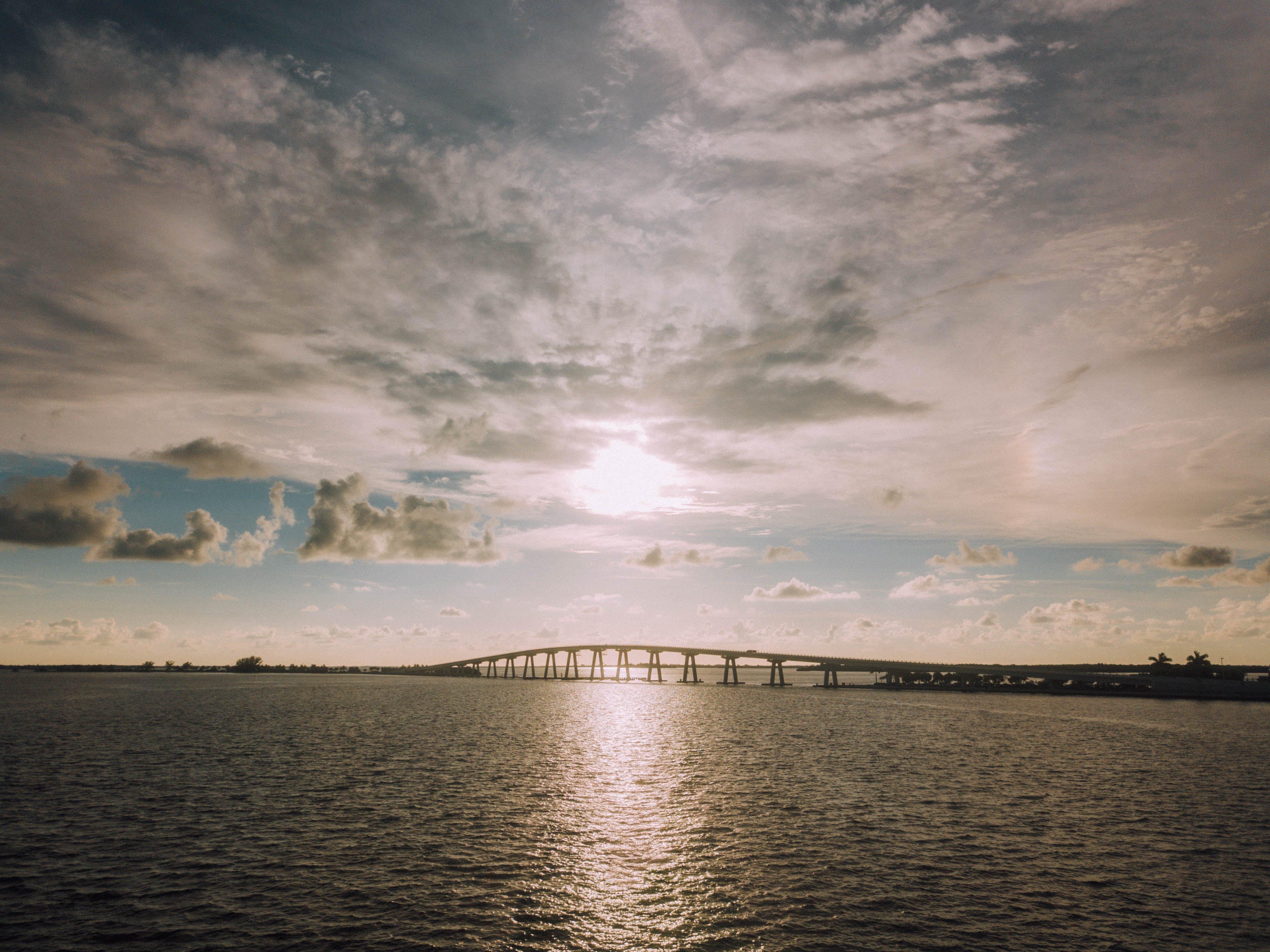 beach, bridge, cloud