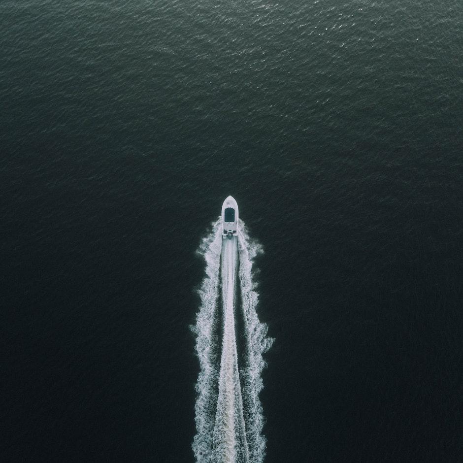 boat, deep ocean, idyllic