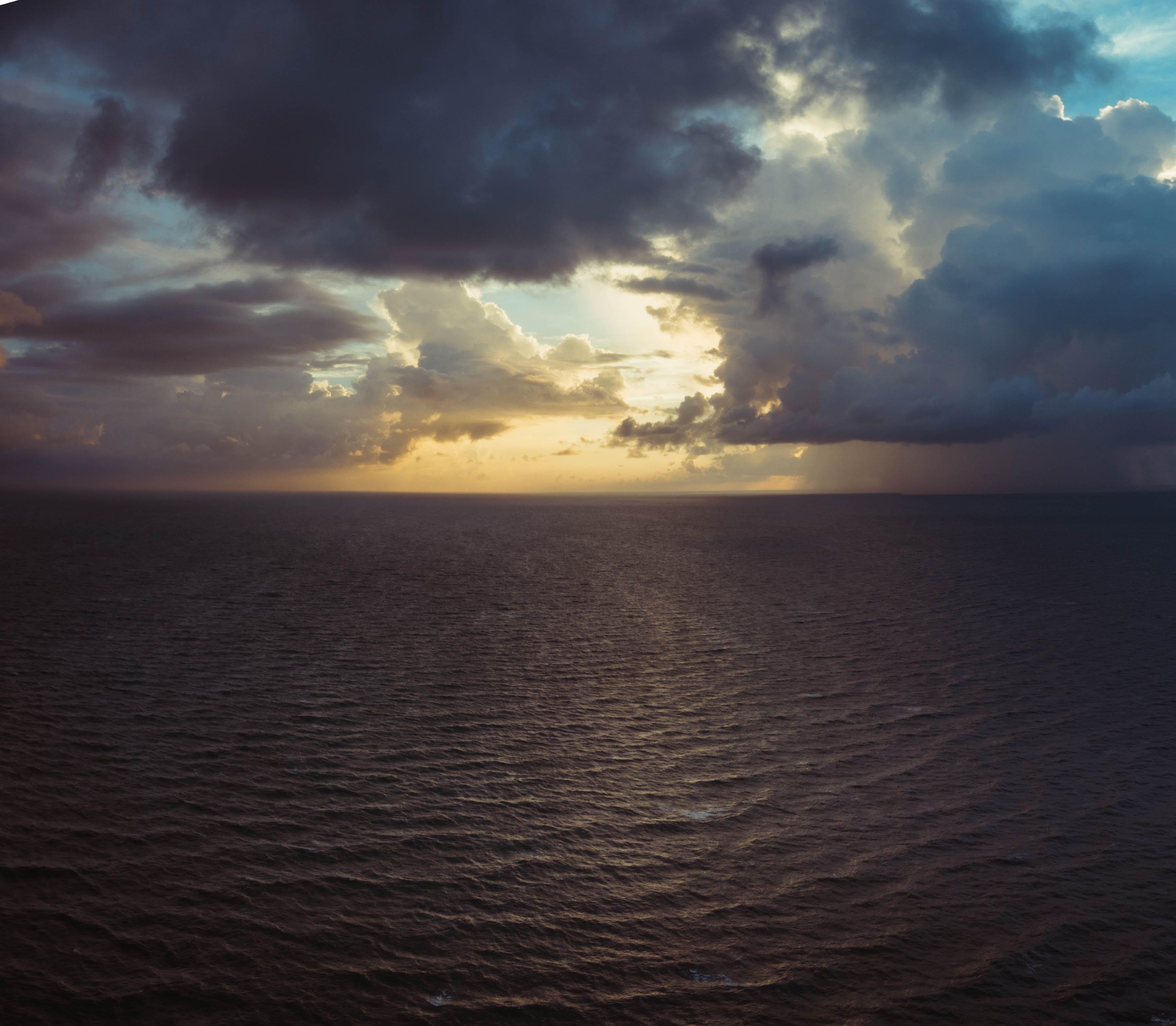 beach, bird's eye view, clouds