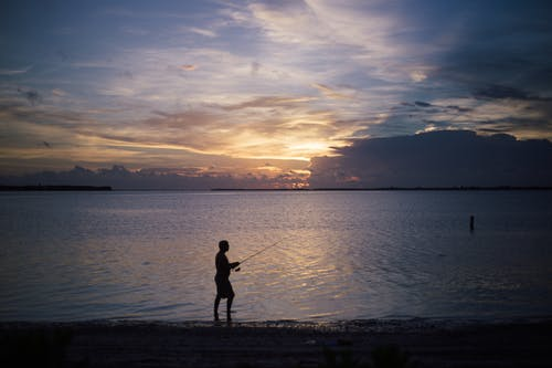 Silhouette of Man Standing on Shoreline