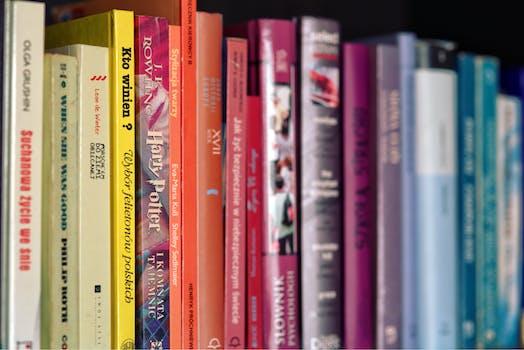 Colourful Books on Shelf