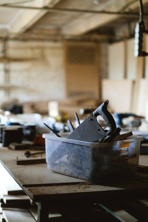 Set of carpentry tools in workshop
