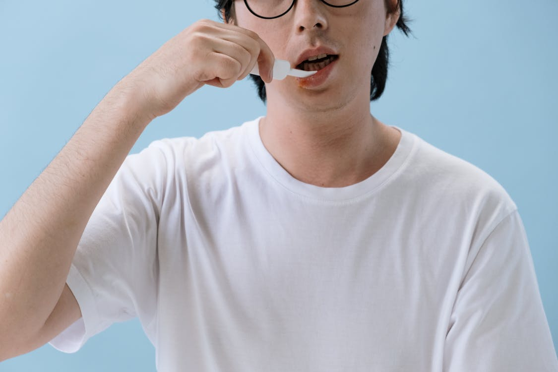 Man in Crew Neck T-shirt